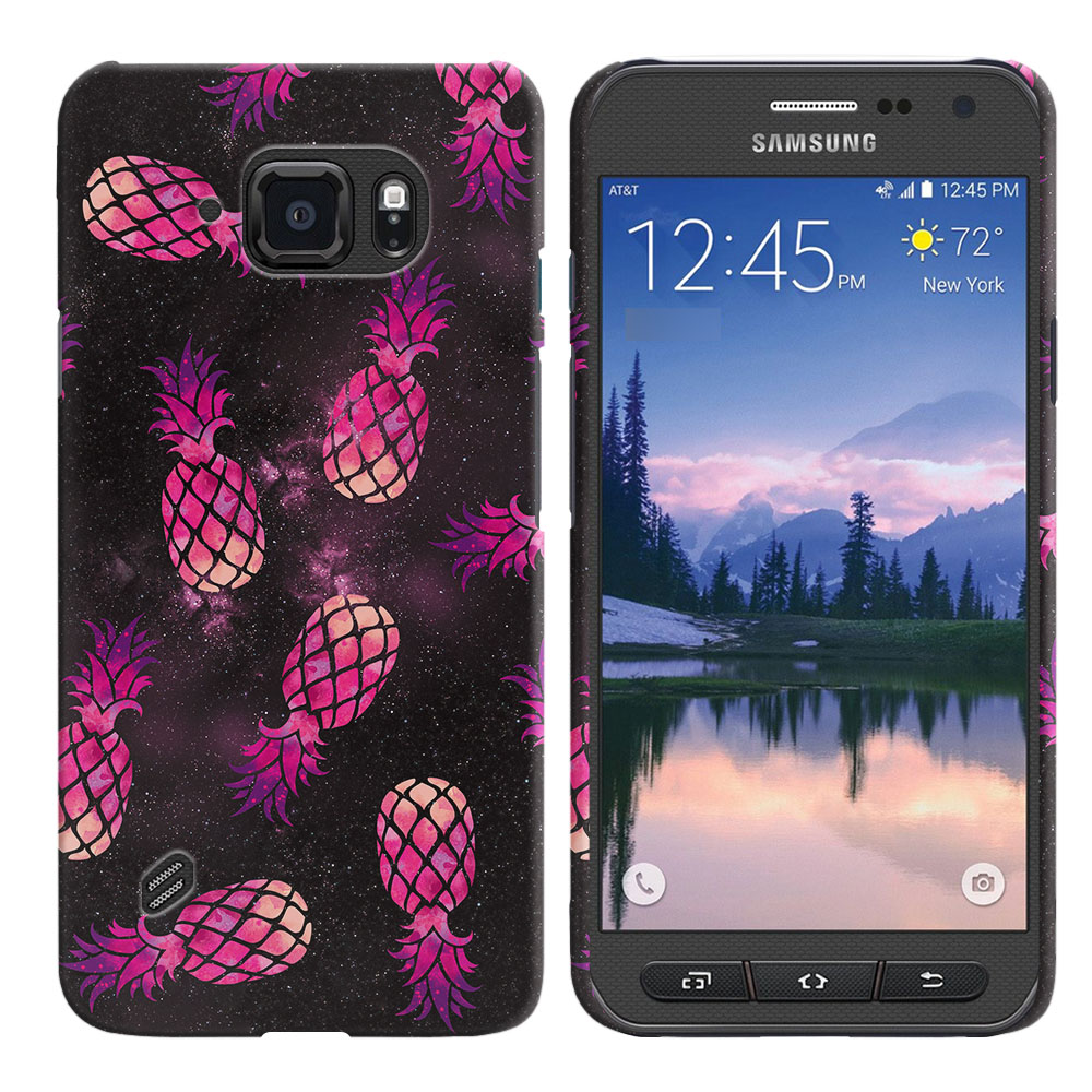 Samsung Galaxy S6 Active G890 Hot Pink Pineapple Pattern In Galaxy Back Cover Case