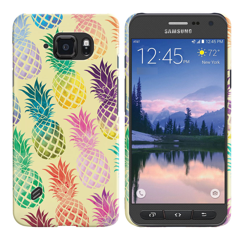 Samsung Galaxy S6 Active G890 Pastel Colorful Pineapple Yellow Pastel Back Cover Case