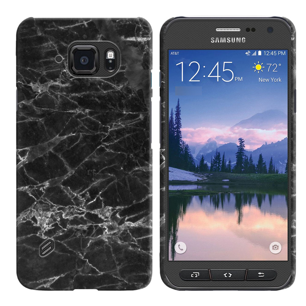 Samsung Galaxy S6 Active G890 Black Stone Marble Back Cover Case