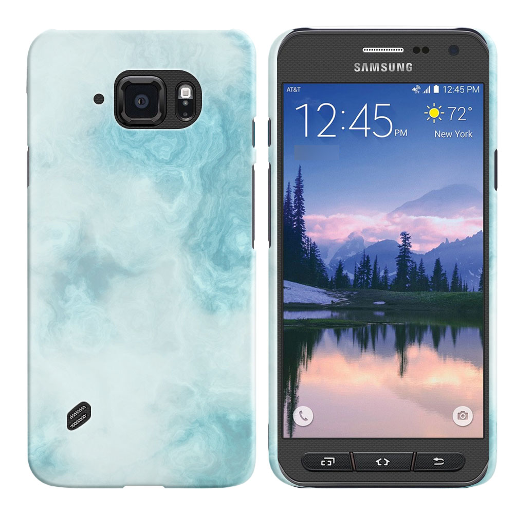 Samsung Galaxy S6 Active G890 Blue Cloudy Marble Back Cover Case