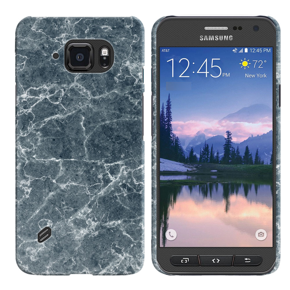 Samsung Galaxy S6 Active G890 Blue Stone Marble Back Cover Case