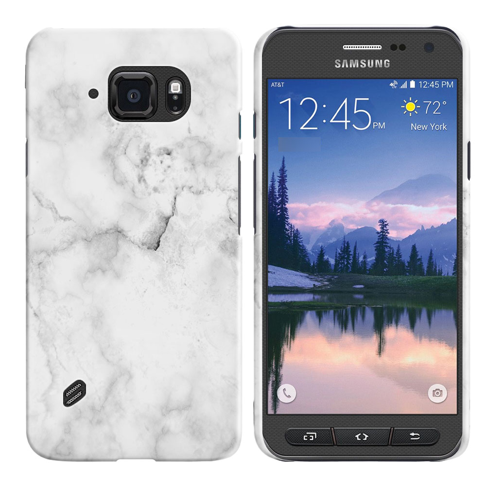Samsung Galaxy S6 Active G890 Grey Cloudy Marble Back Cover Case