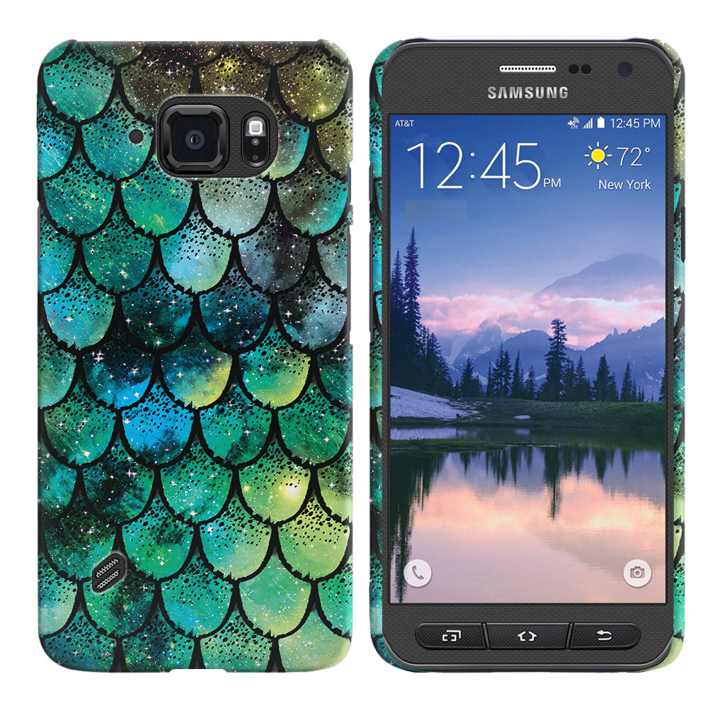 Samsung Galaxy S6 Active G890 Green Mermaid Scales Back Cover Case