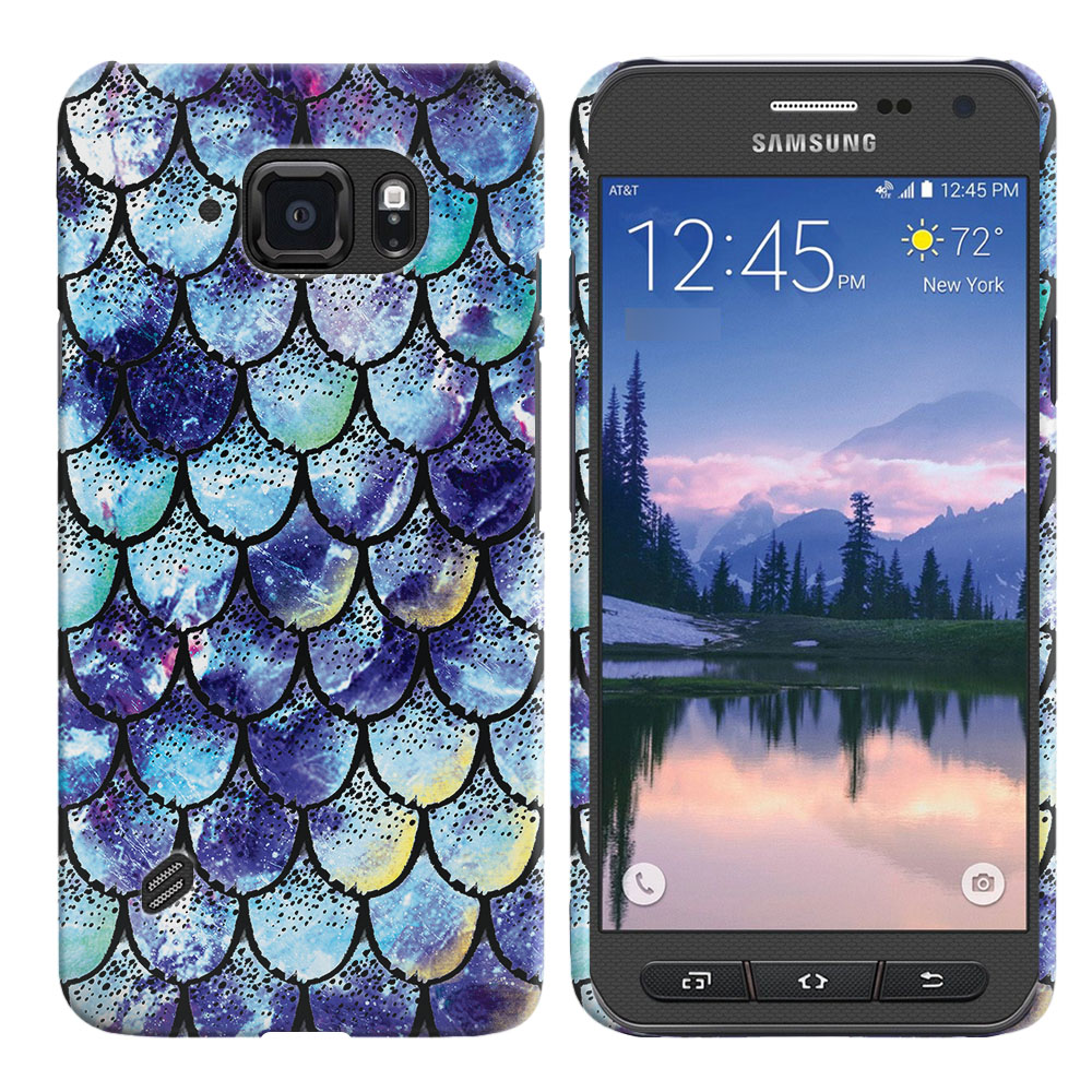 Samsung Galaxy S6 Active G890 Purple Mermaid Scales Back Cover Case