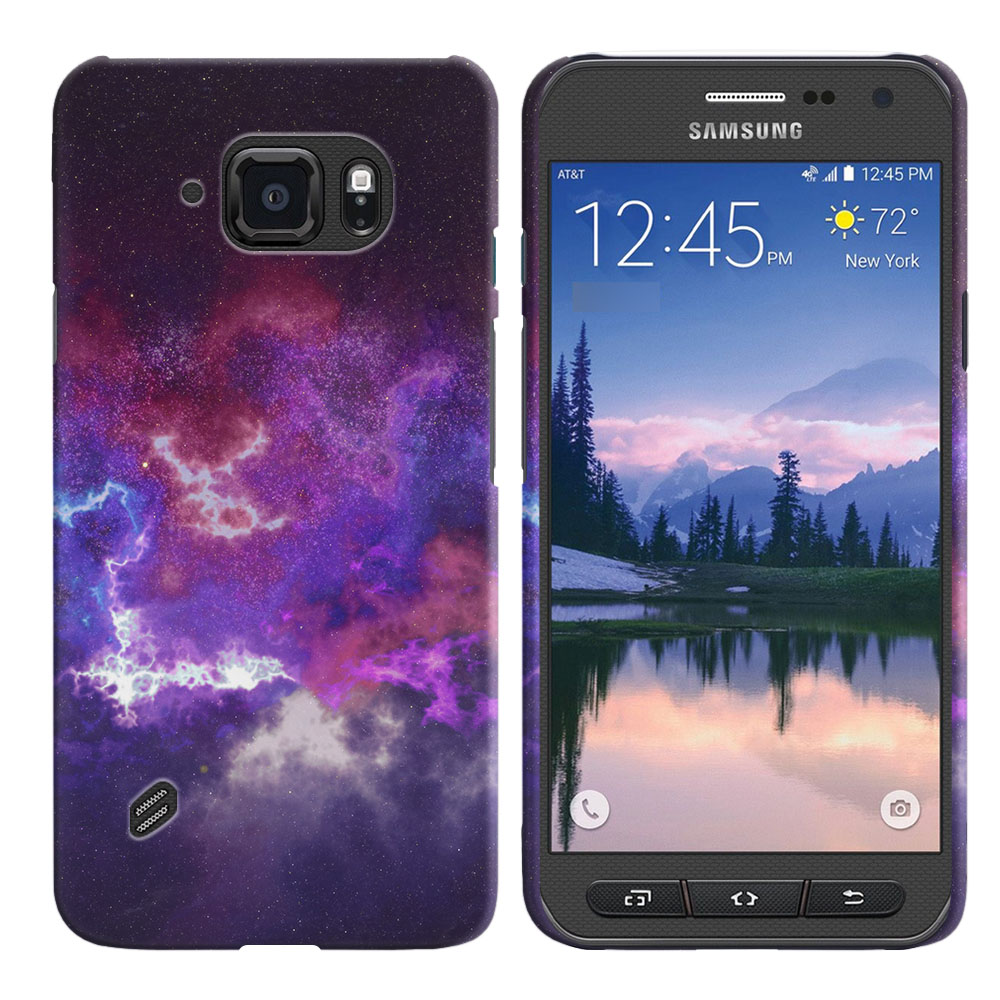 Samsung Galaxy S6 Active G890 Purple Nebula Space Back Cover Case