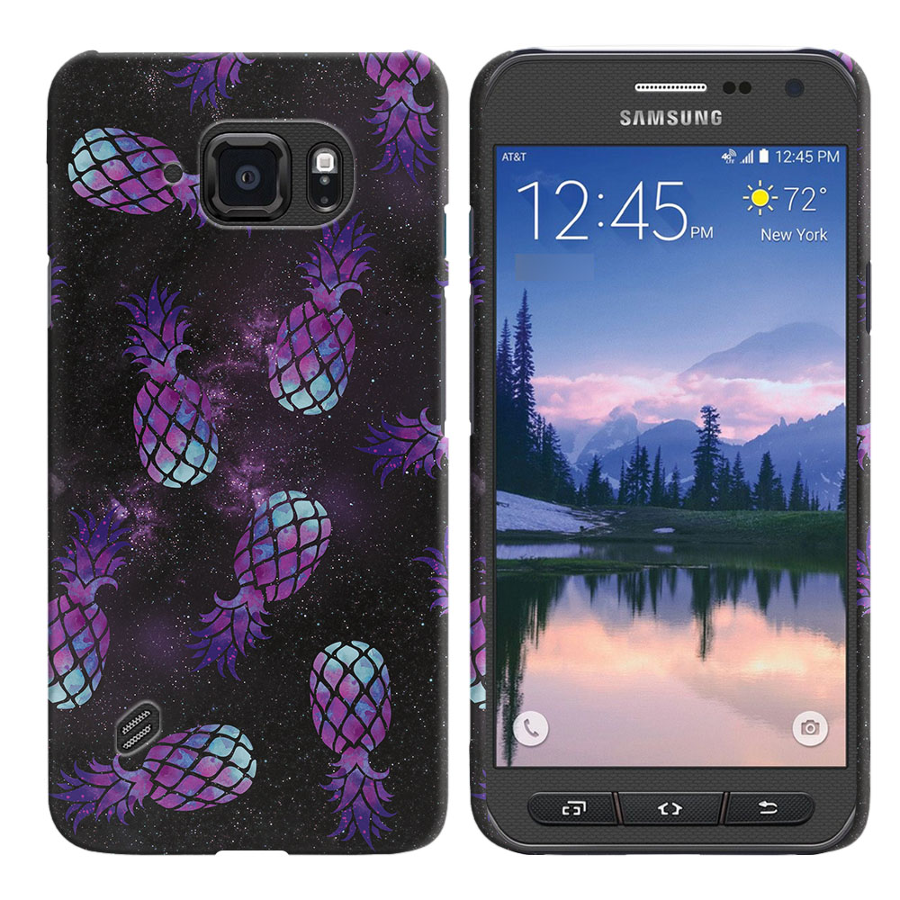 Samsung Galaxy S6 Active G890 Purple Pineapples Galaxy Back Cover Case