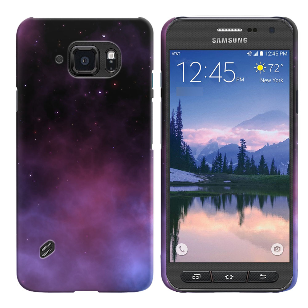 Samsung Galaxy S6 Active G890 Purple Space Stars Back Cover Case