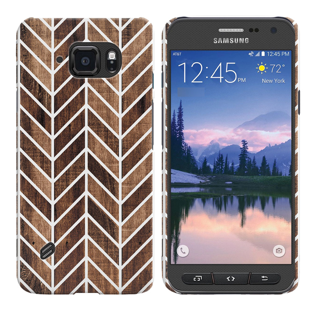 Samsung Galaxy S6 Active G890 Wood Chevron Back Cover Case