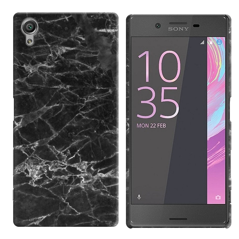 Sony Xperia X Performance F8131 F8132 Black Stone Marble Back Cover Case