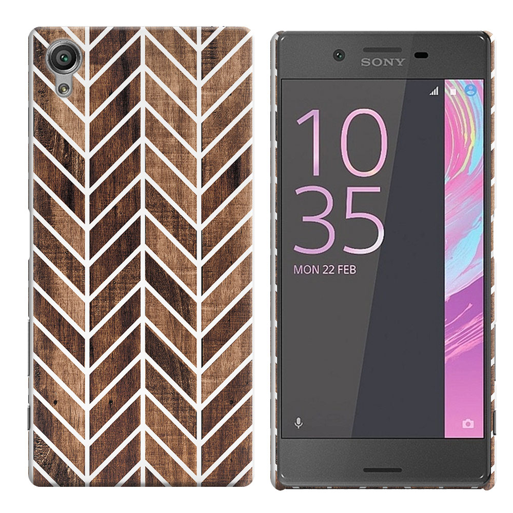 Sony Xperia X Performance F8131 F8132 Wood Chevron Back Cover Case