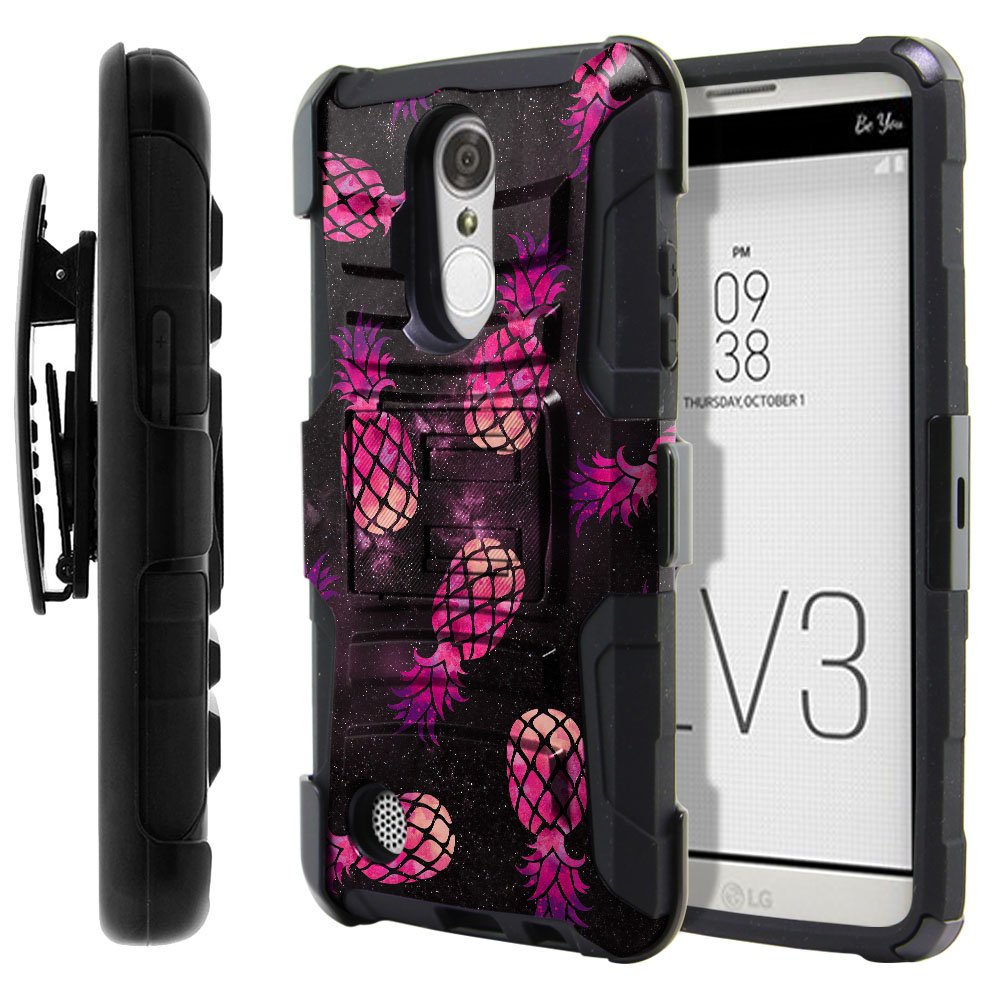 LG Aristo MS210 LV3-LG K8 (2017) Hybrid Rigid Stand Holster Hot Pink Pineapple Pattern In Galaxy Protector Cover Case