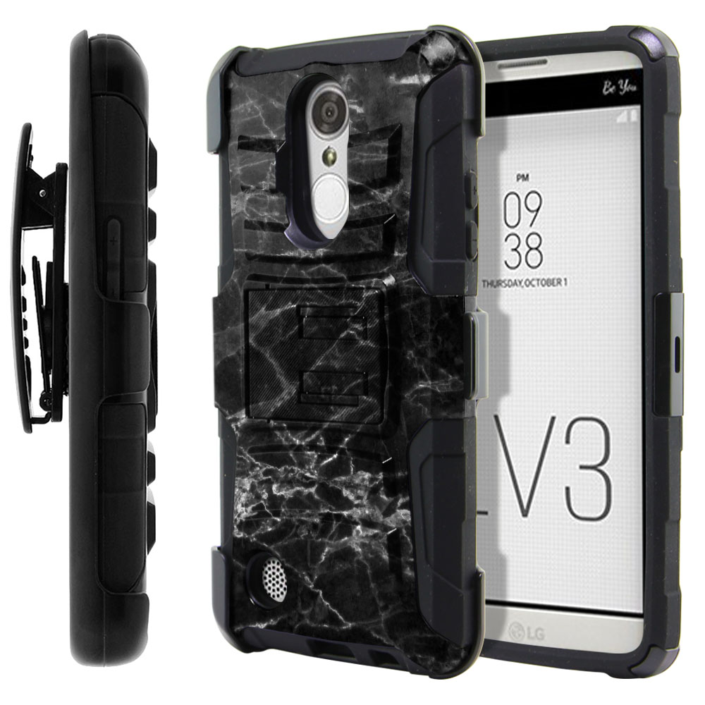 LG Aristo MS210 LV3-LG K8 (2017) Hybrid Rigid Stand Holster Black Stone Marble Protector Cover Case