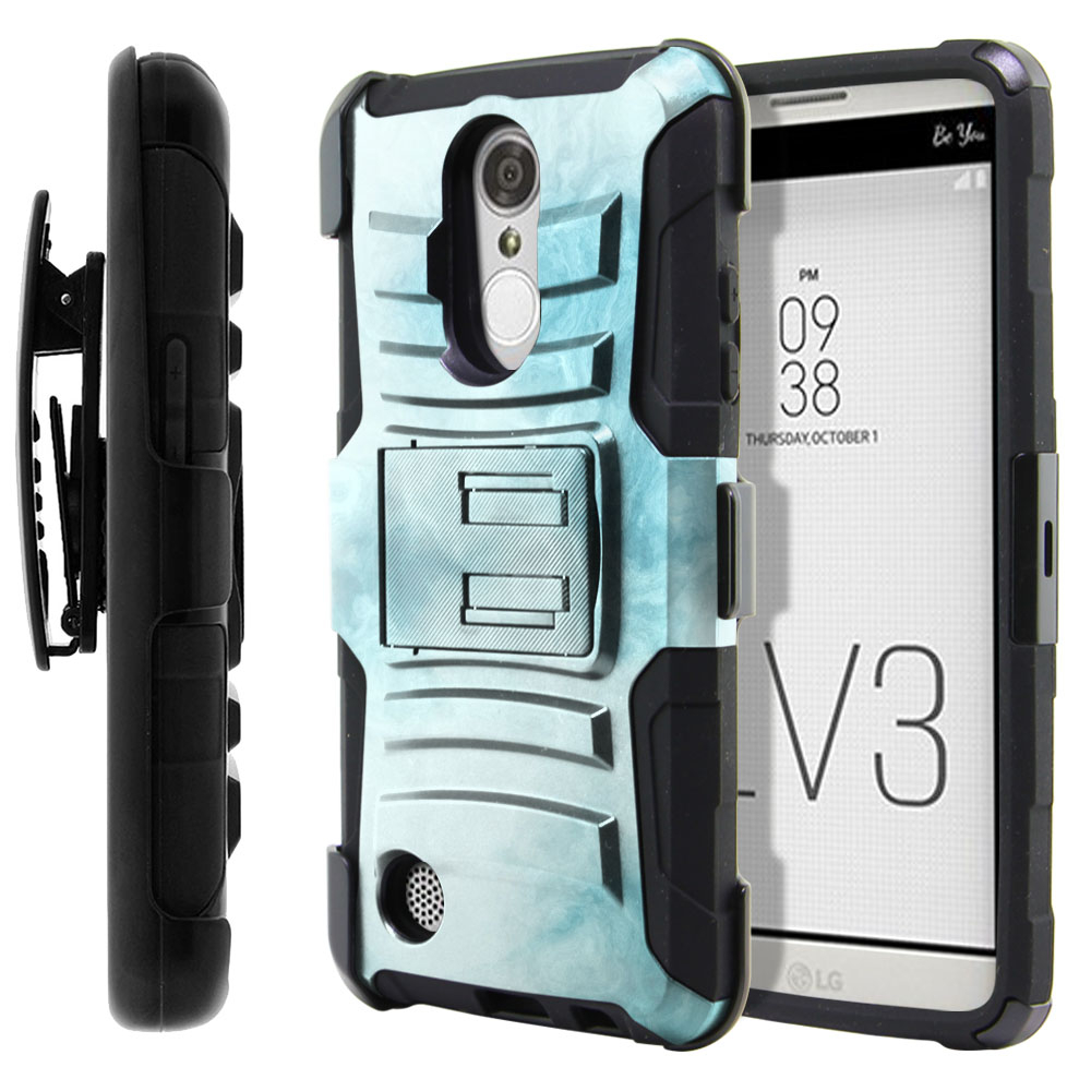 LG Aristo MS210 LV3-LG K8 (2017) Hybrid Rigid Stand Holster Blue Cloudy Marble Protector Cover Case