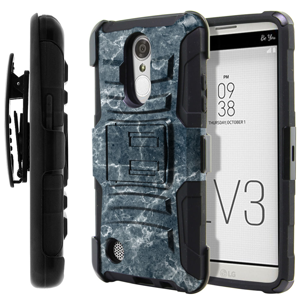 LG Aristo MS210 LV3-LG K8 (2017) Hybrid Rigid Stand Holster Blue Stone Marble Protector Cover Case