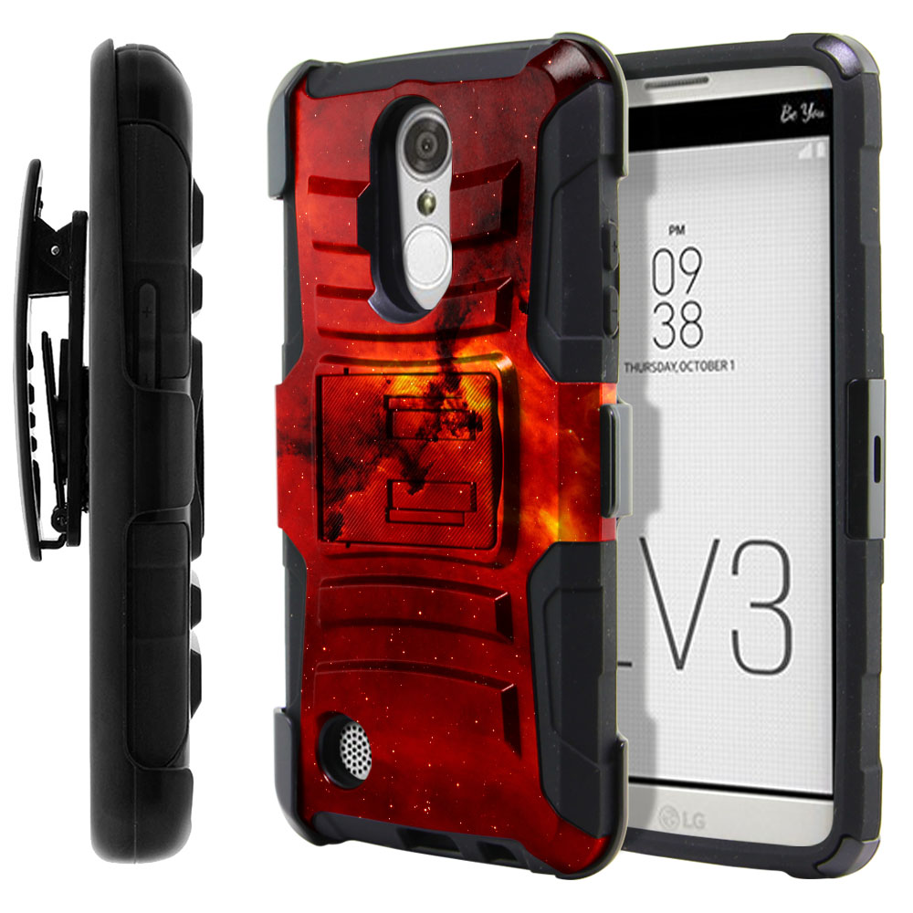 LG Aristo MS210 LV3-LG K8 (2017) Hybrid Rigid Stand Holster Fiery Galaxy Protector Cover Case