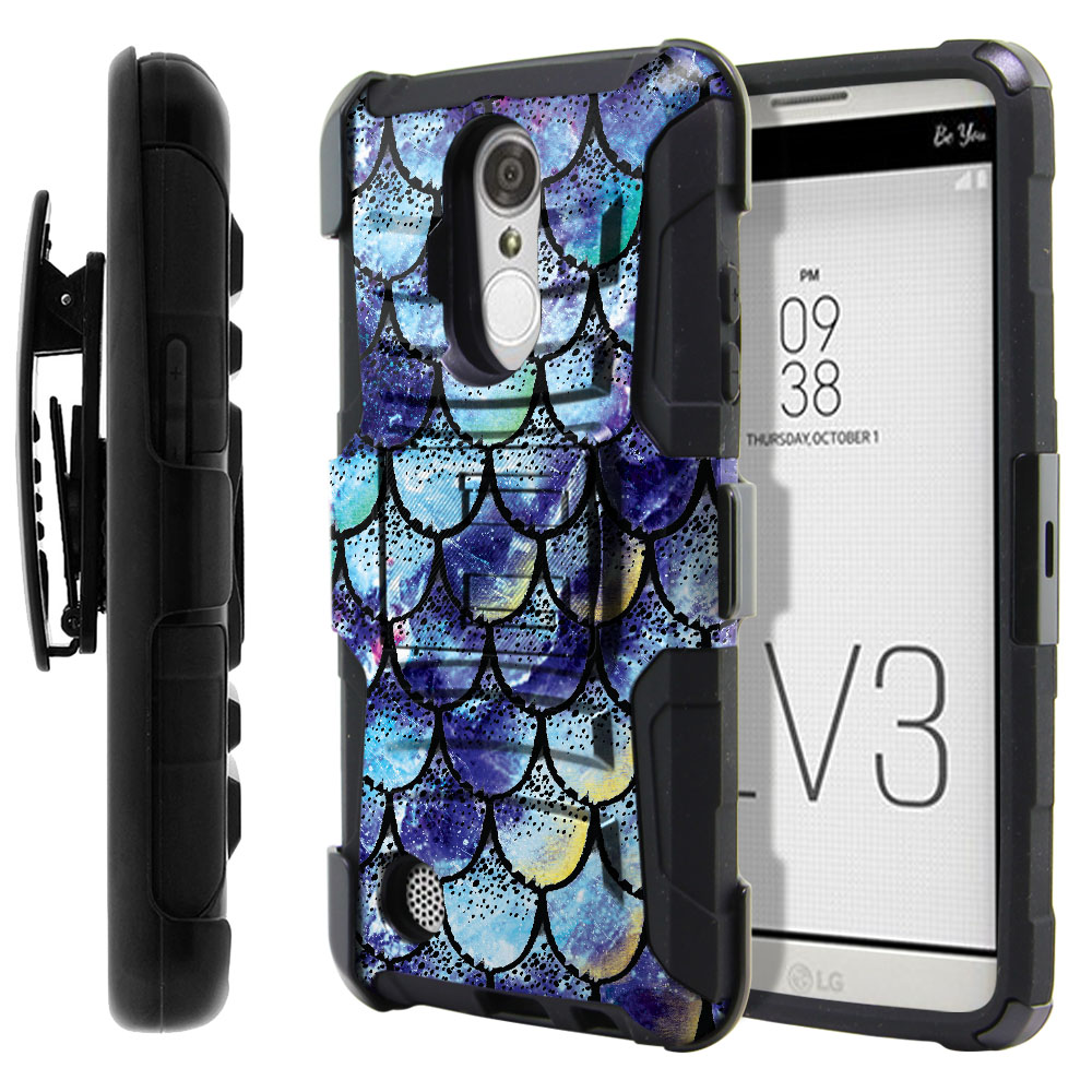 LG Aristo MS210 LV3-LG K8 (2017) Hybrid Rigid Stand Holster Purple Mermaid Scales Protector Cover Case