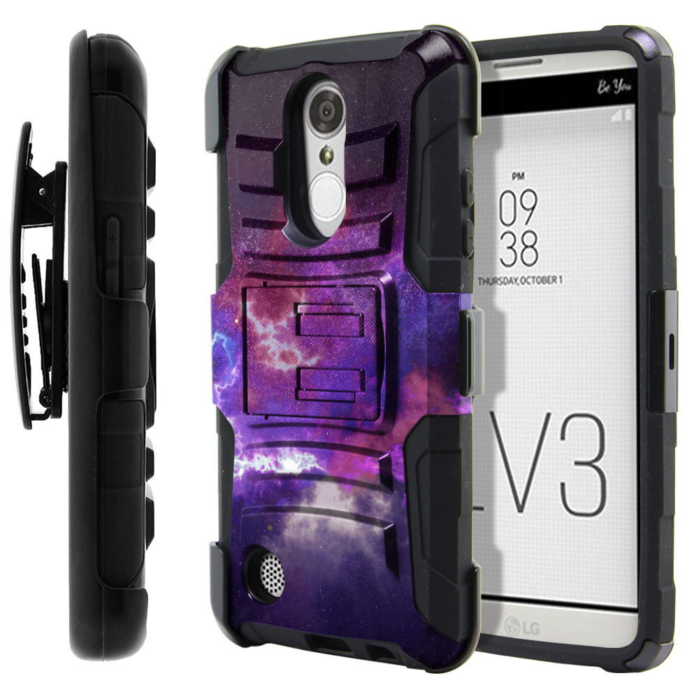 LG Aristo MS210 LV3-LG K8 (2017) Hybrid Rigid Stand Holster Purple Nebula Space Protector Cover Case
