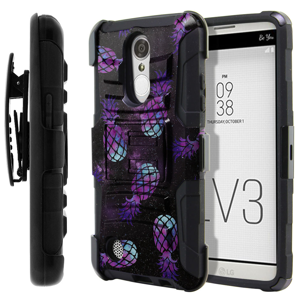 LG Aristo MS210 LV3-LG K8 (2017) Hybrid Rigid Stand Holster Purple Pineapples Galaxy Protector Cover Case