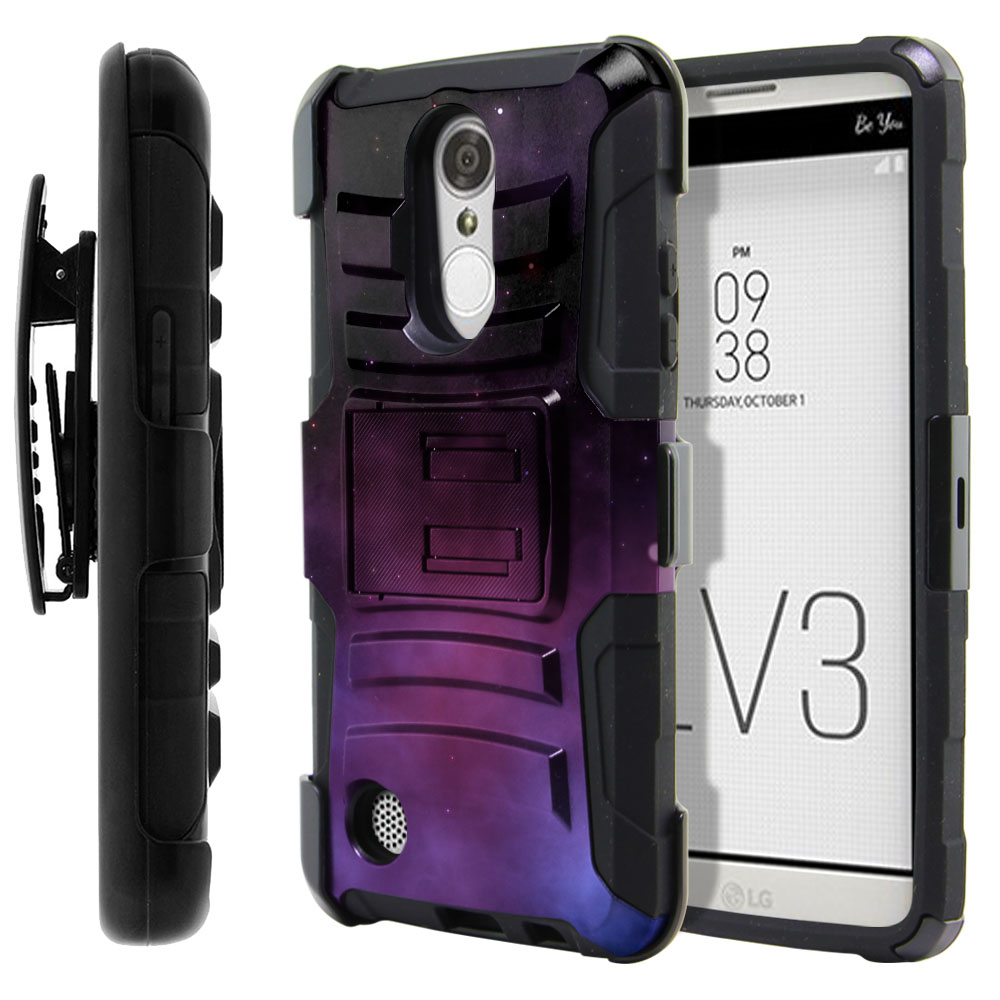 LG Aristo MS210 LV3-LG K8 (2017) Hybrid Rigid Stand Holster Purple Space Stars Protector Cover Case