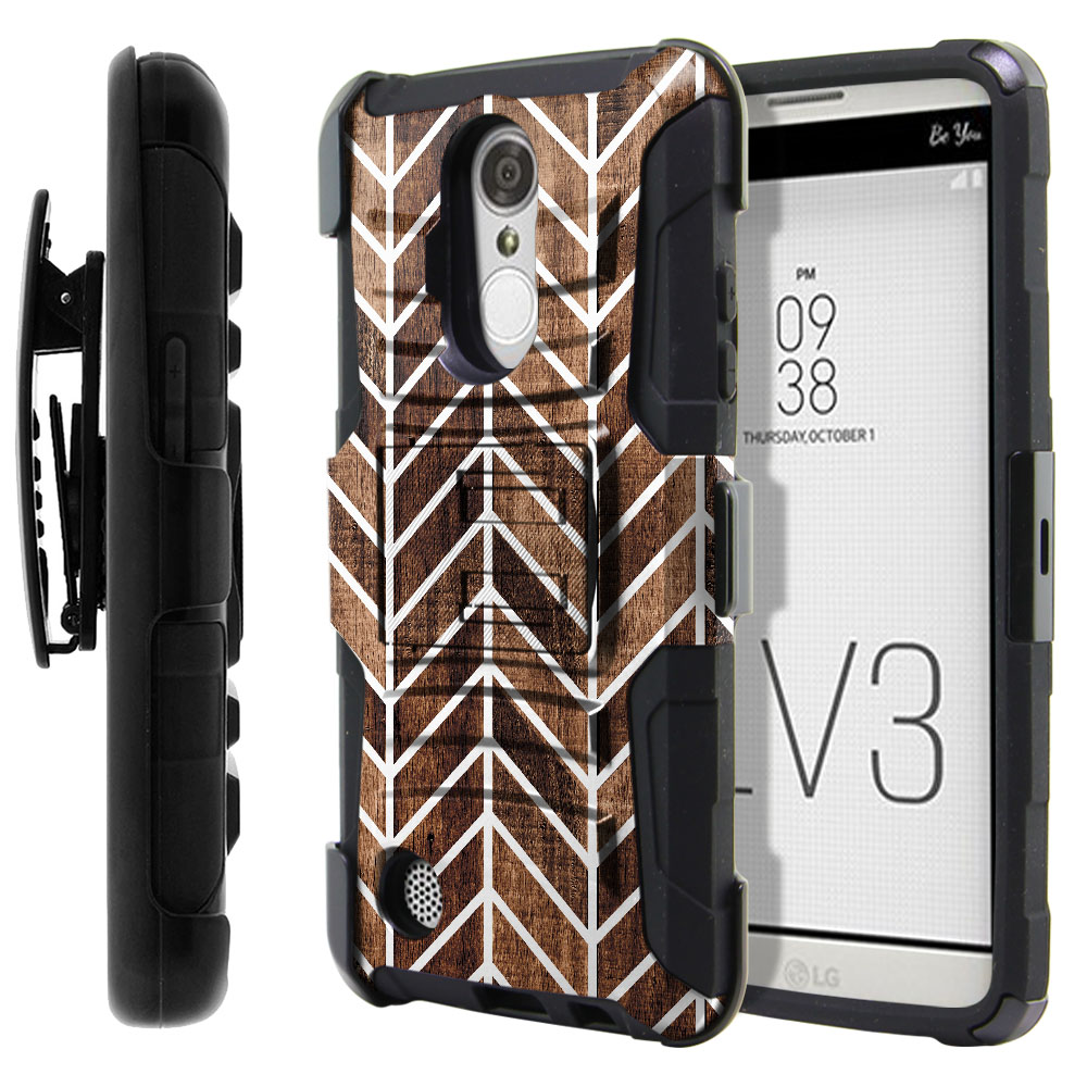 LG Aristo MS210 LV3-LG K8 (2017) Hybrid Rigid Stand Holster Modern Chevron Wood Protector Cover Case
