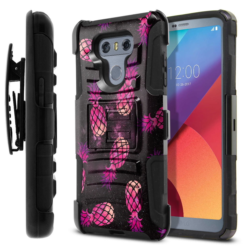 LG G6 H870-G6  Plus US997 Hybrid Rigid Stand Holster Hot Pink Pineapple Pattern In Galaxy Protector Cover Case