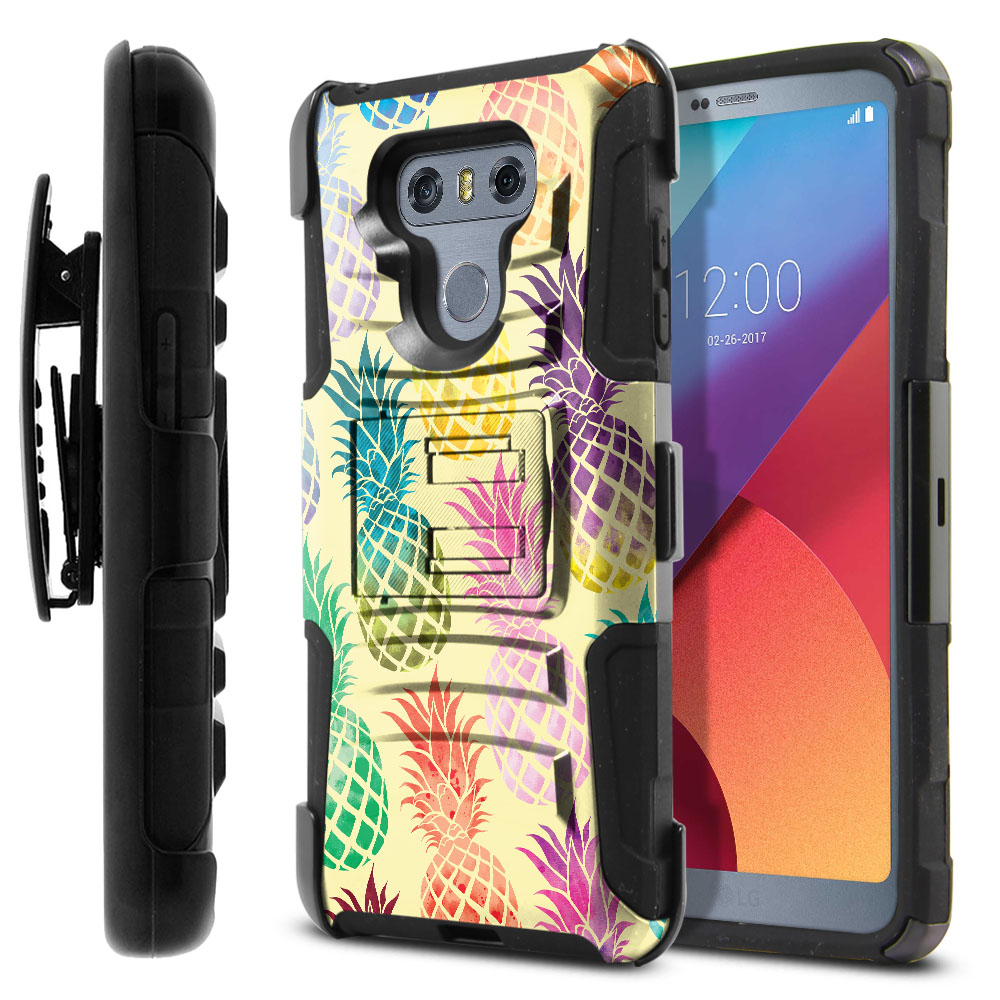 LG G6 H870-G6  Plus US997 Hybrid Rigid Stand Holster Pastel Colorful Pineapple Yellow Pastel Protector Cover Case