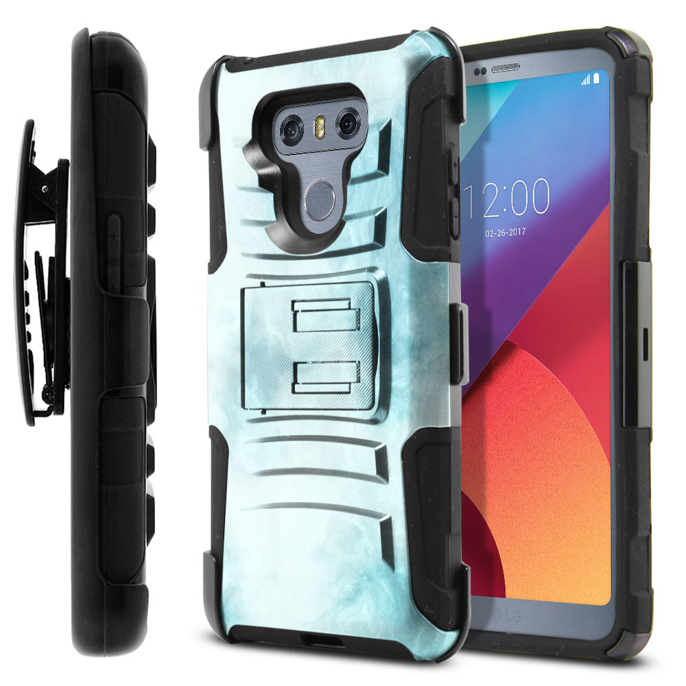 LG G6 H870-G6  Plus US997 Hybrid Rigid Stand Holster Blue Cloudy Marble Protector Cover Case