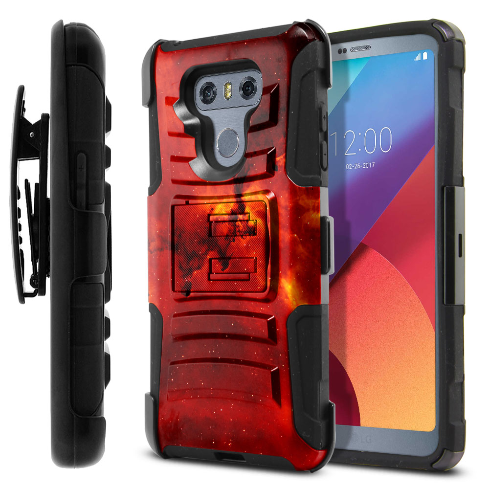 LG G6 H870-G6  Plus US997 Hybrid Rigid Stand Holster Fiery Galaxy Protector Cover Case