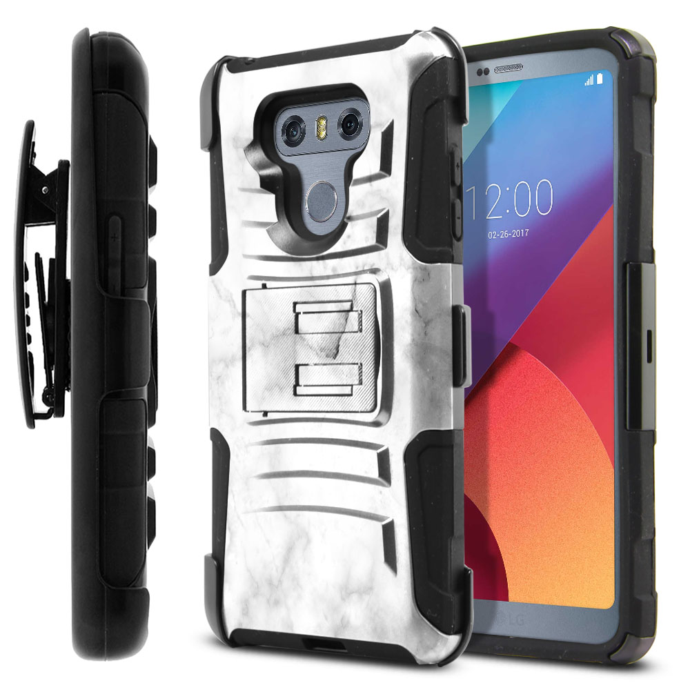 LG G6 H870-G6  Plus US997 Hybrid Rigid Stand Holster Grey Cloudy Marble Protector Cover Case