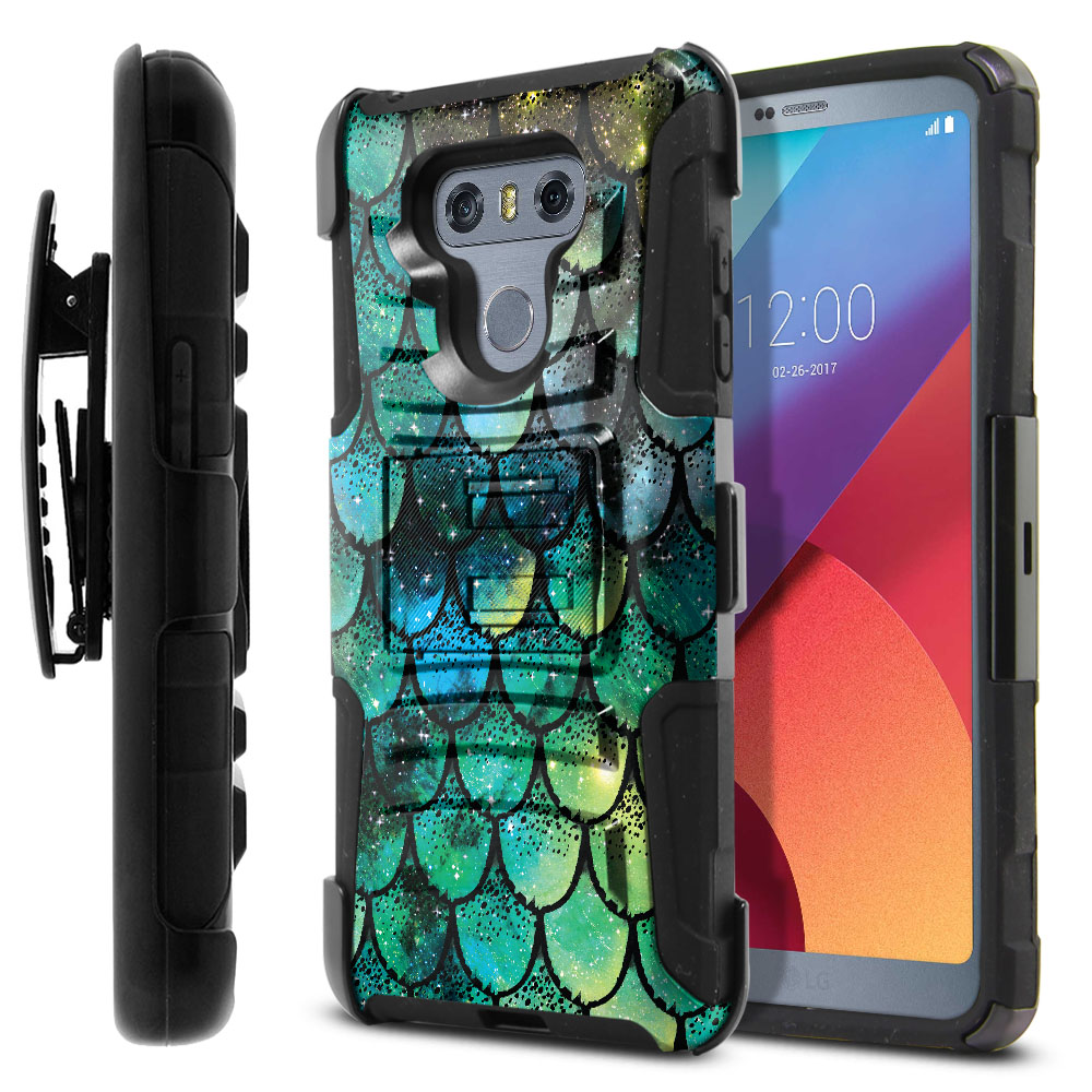 LG G6 H870-G6  Plus US997 Hybrid Rigid Stand Holster Green Mermaid Scales Protector Cover Case