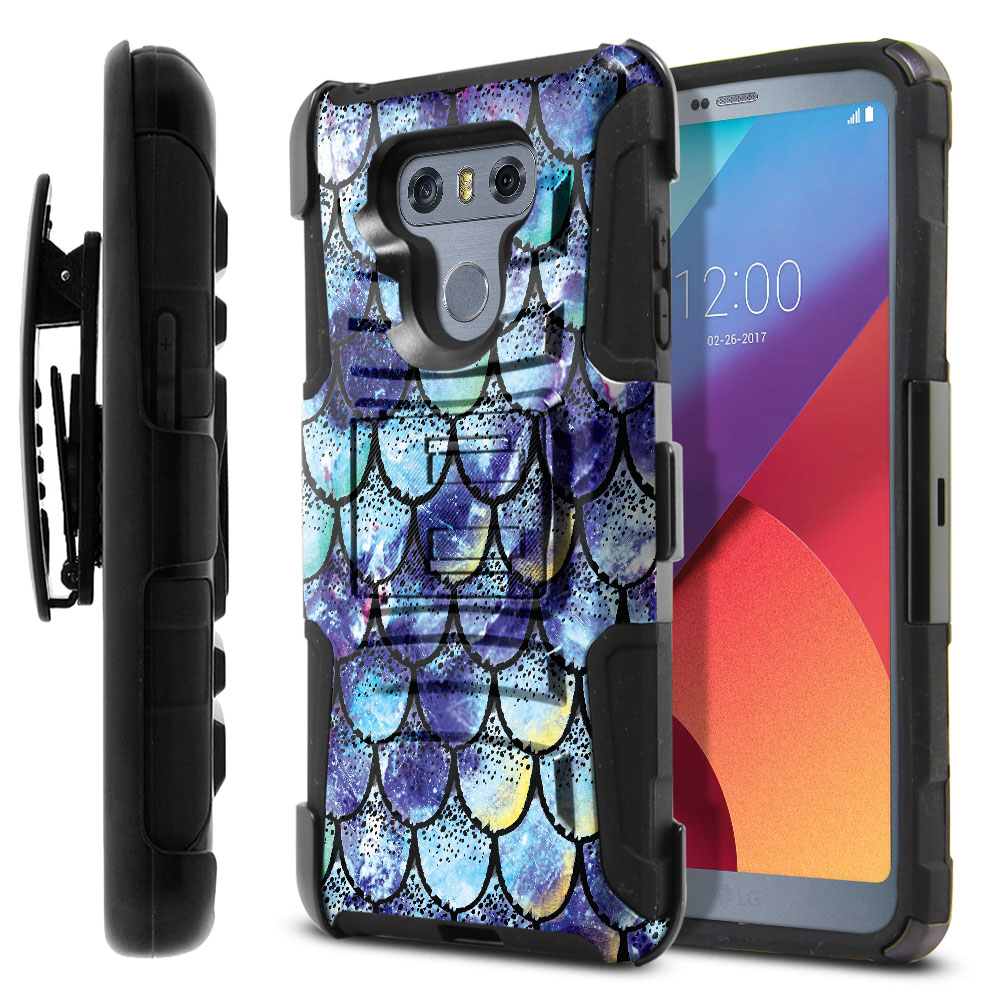 LG G6 H870-G6  Plus US997 Hybrid Rigid Stand Holster Purple Mermaid Scales Protector Cover Case