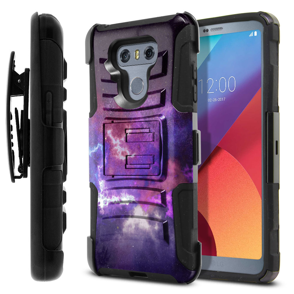 LG G6 H870-G6  Plus US997 Hybrid Rigid Stand Holster Purple Nebula Space Protector Cover Case