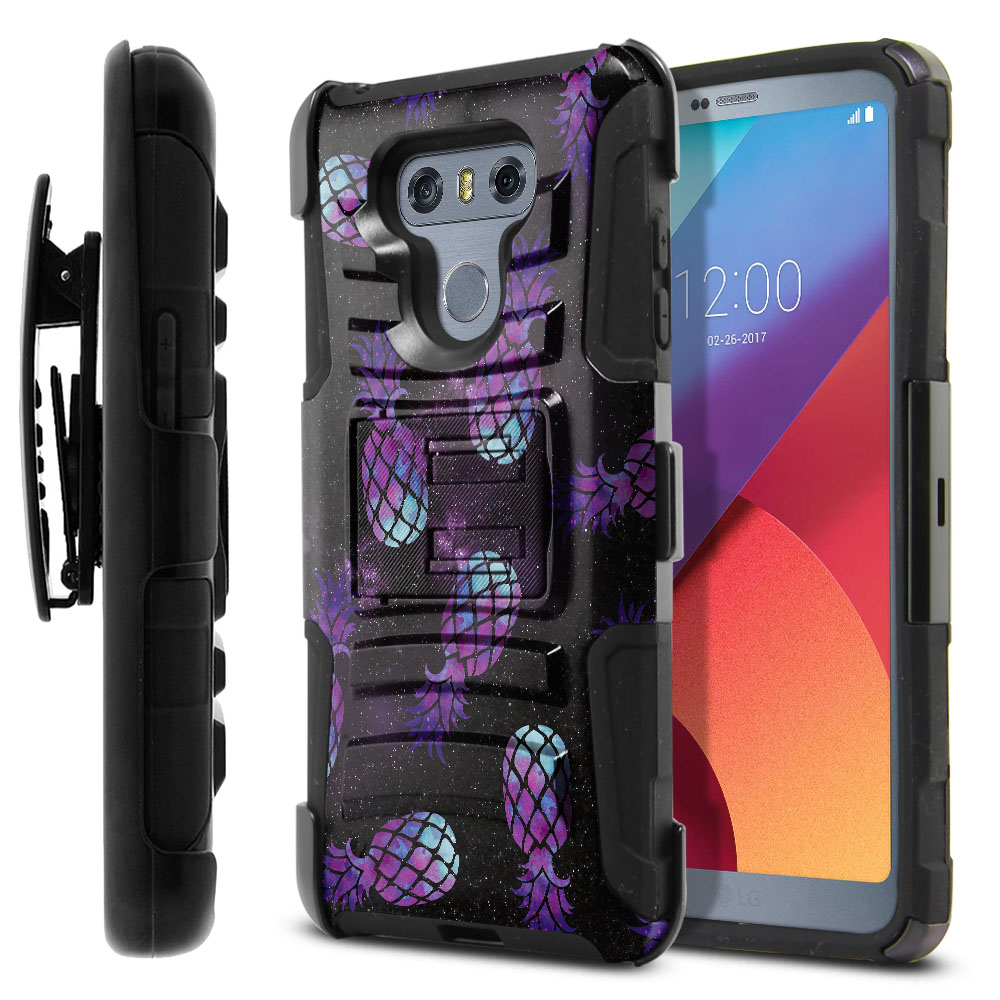 LG G6 H870-G6  Plus US997 Hybrid Rigid Stand Holster Purple Pineapples Galaxy Protector Cover Case
