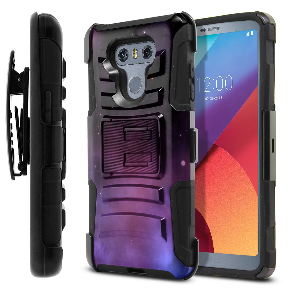 LG G6 H870-G6  Plus US997 Hybrid Rigid Stand Holster Purple Space Stars Protector Cover Case