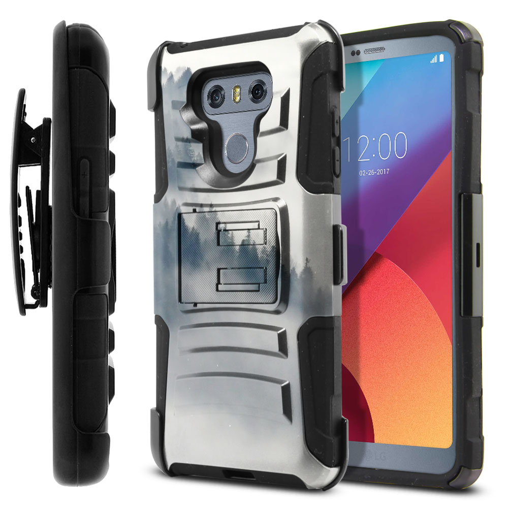 LG G6 H870-G6  Plus US997 Hybrid Rigid Stand Holster Winter Trees Protector Cover Case