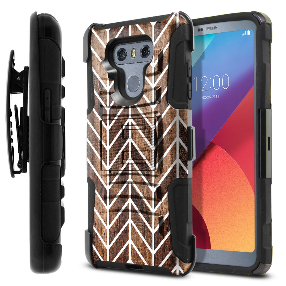 LG G6 H870-G6  Plus US997 Hybrid Rigid Stand Holster Modern Chevron Wood Protector Cover Case
