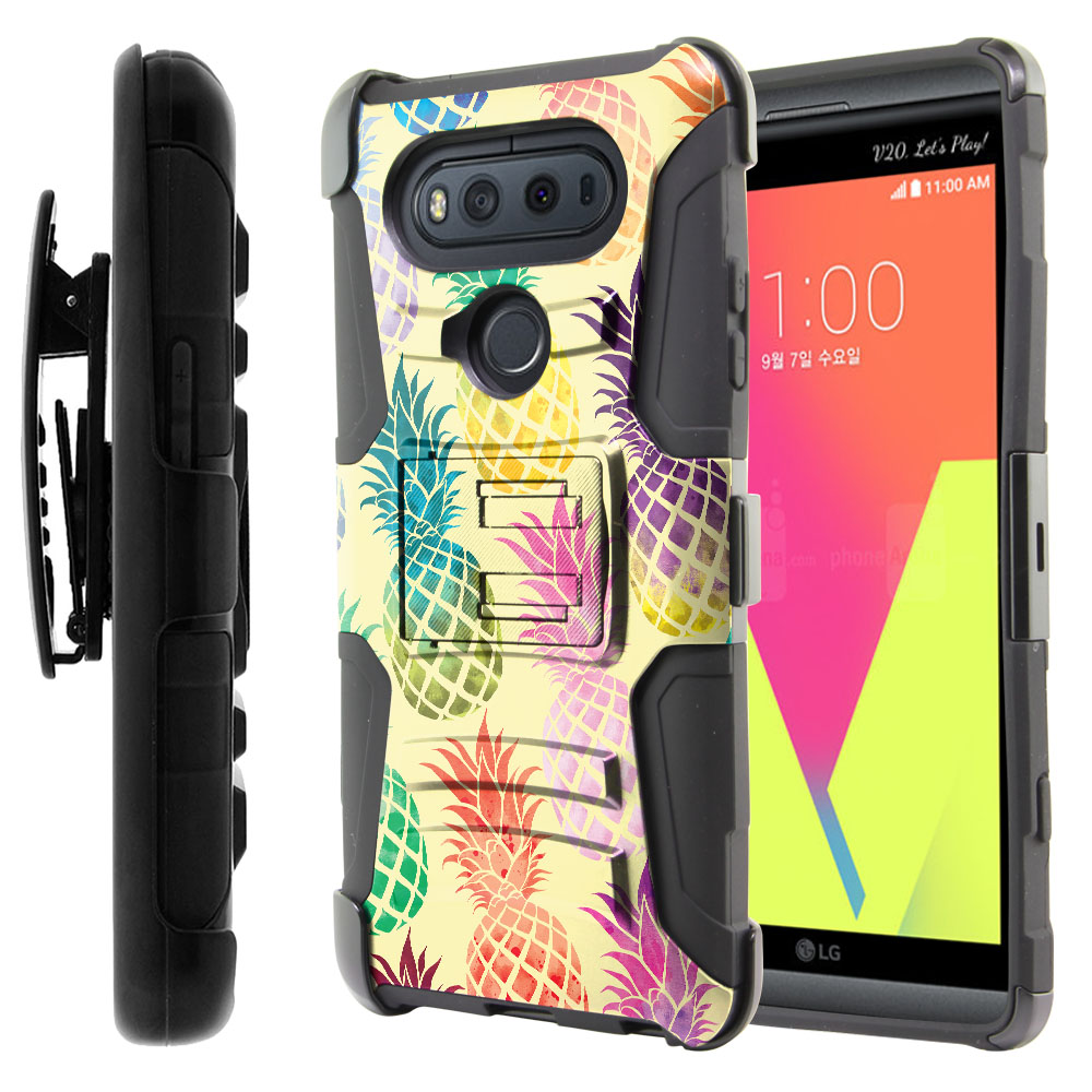 LG V20-LG VS995 H990 LS997 H910 H918 US996 Hybrid Rigid Stand Holster Pastel Colorful Pineapple Yellow Pastel Protector Cover Case
