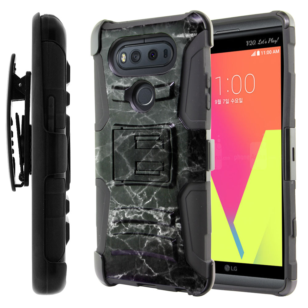 LG V20-LG VS995 H990 LS997 H910 H918 US996 Hybrid Rigid Stand Holster Black Stone Marble Protector Cover Case