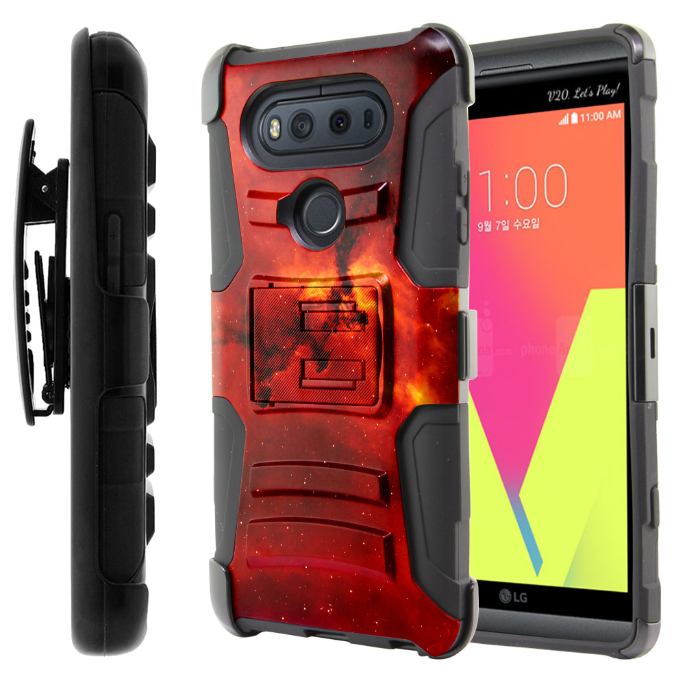 LG V20-LG VS995 H990 LS997 H910 H918 US996 Hybrid Rigid Stand Holster Fiery Galaxy Protector Cover Case
