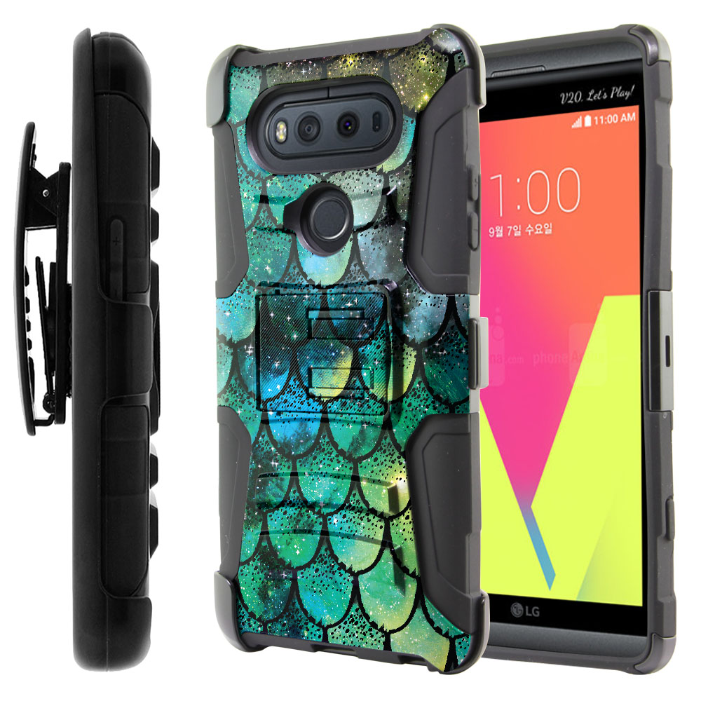 LG V20-LG VS995 H990 LS997 H910 H918 US996 Hybrid Rigid Stand Holster Green Mermaid Scales Protector Cover Case