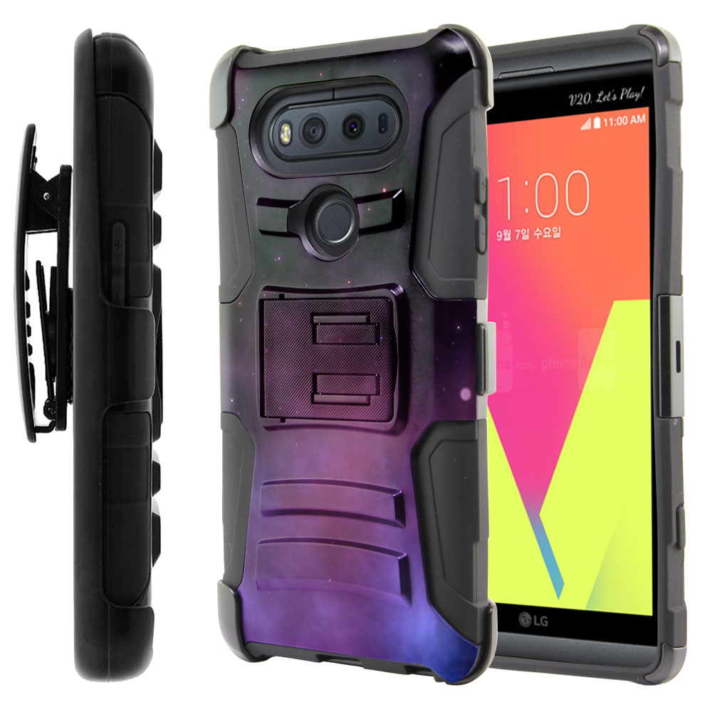 LG V20-LG VS995 H990 LS997 H910 H918 US996 Hybrid Rigid Stand Holster Purple Space Stars Protector Cover Case