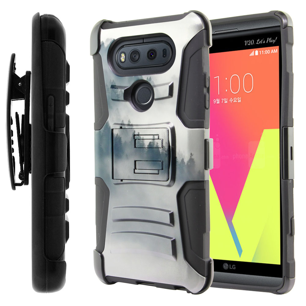 LG V20-LG VS995 H990 LS997 H910 H918 US996 Hybrid Rigid Stand Holster Winter Trees Protector Cover Case