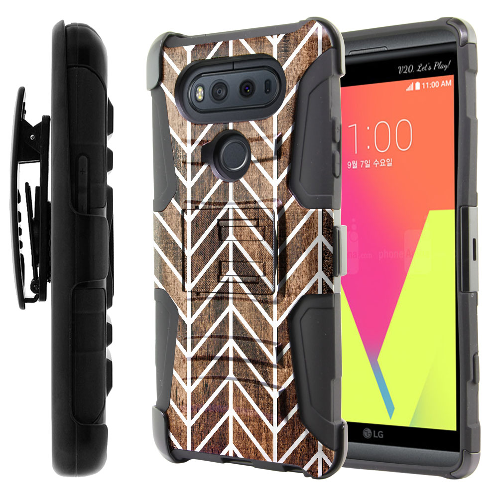 LG V20-LG VS995 H990 LS997 H910 H918 US996 Hybrid Rigid Stand Holster Modern Chevron Wood Protector Cover Case