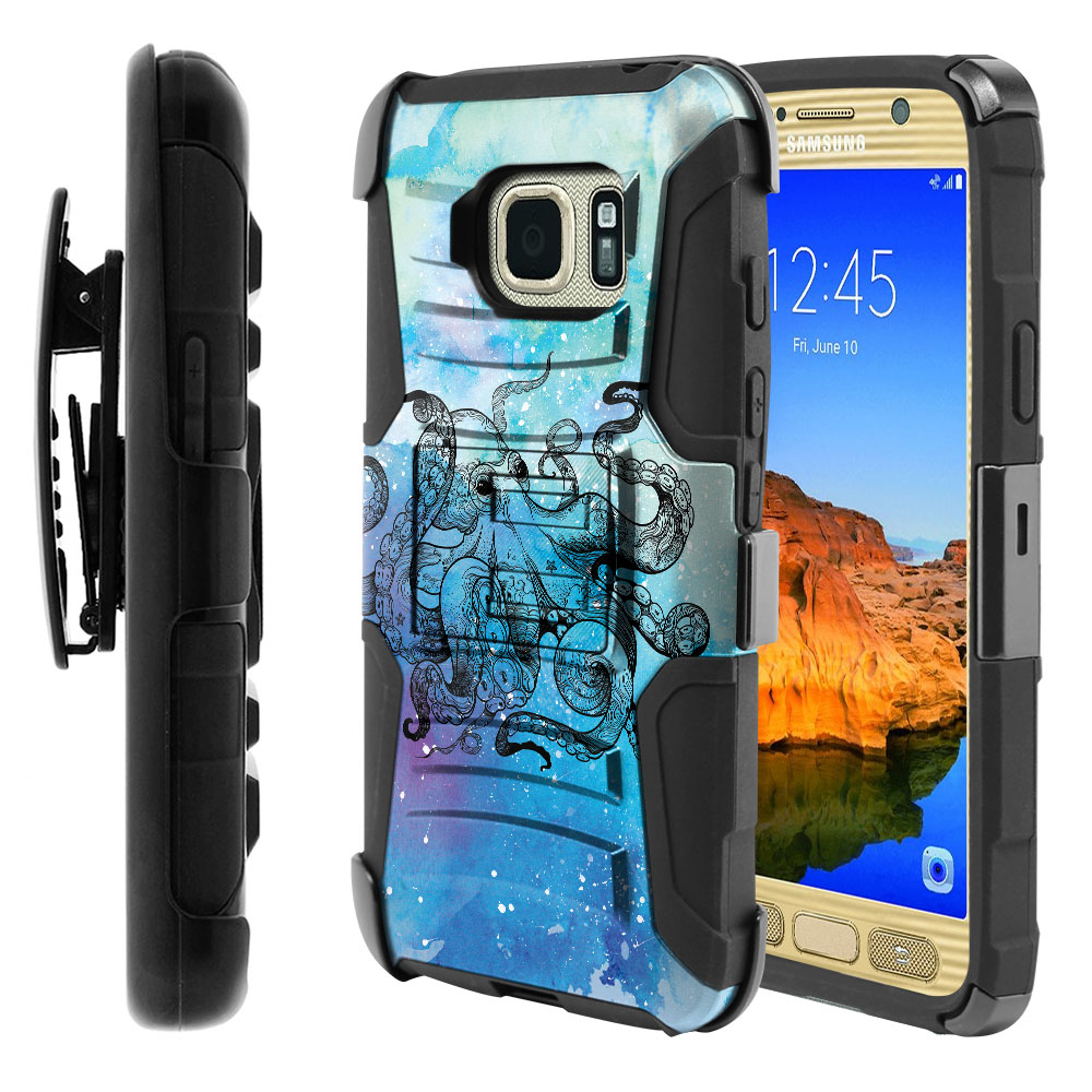 Samsung Galaxy S7 Active G891 Hybrid Rigid Stand Holster Blue Water Octopus Protector Cover Case