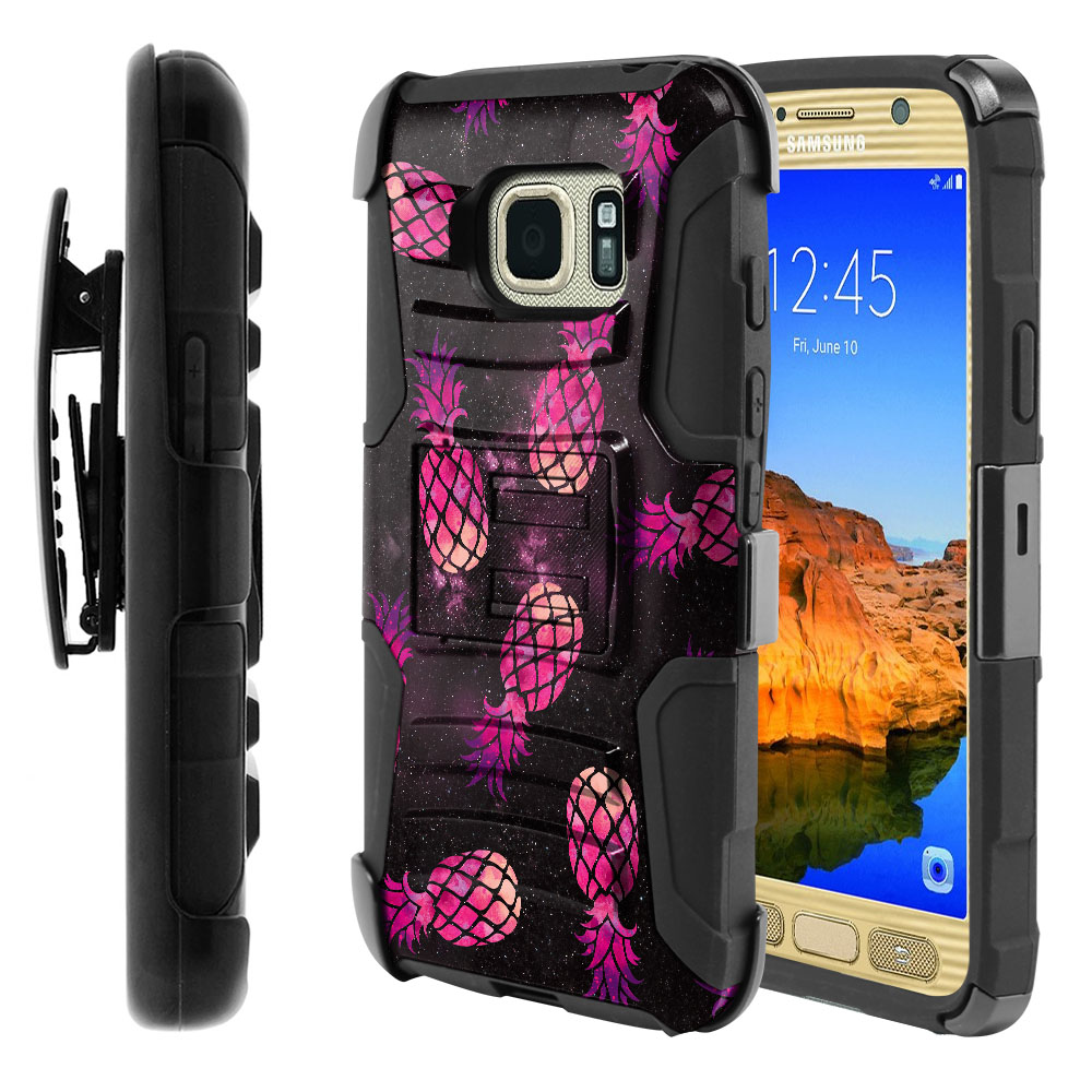 Samsung Galaxy S7 Active G891 Hybrid Rigid Stand Holster Hot Pink Pineapple Pattern In Galaxy Protector Cover Case