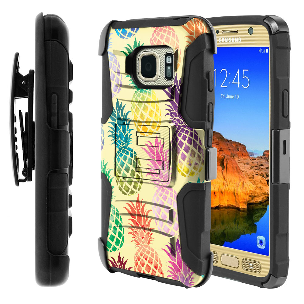 Samsung Galaxy S7 Active G891 Hybrid Rigid Stand Holster Pastel Colorful Pineapple Yellow Pastel Protector Cover Case