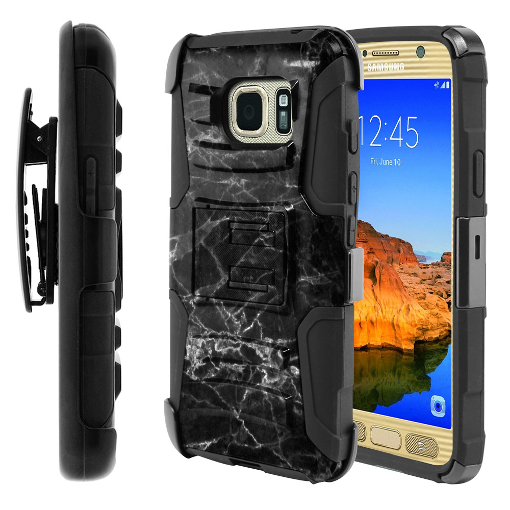 Samsung Galaxy S7 Active G891 Hybrid Rigid Stand Holster Black Stone Marble Protector Cover Case