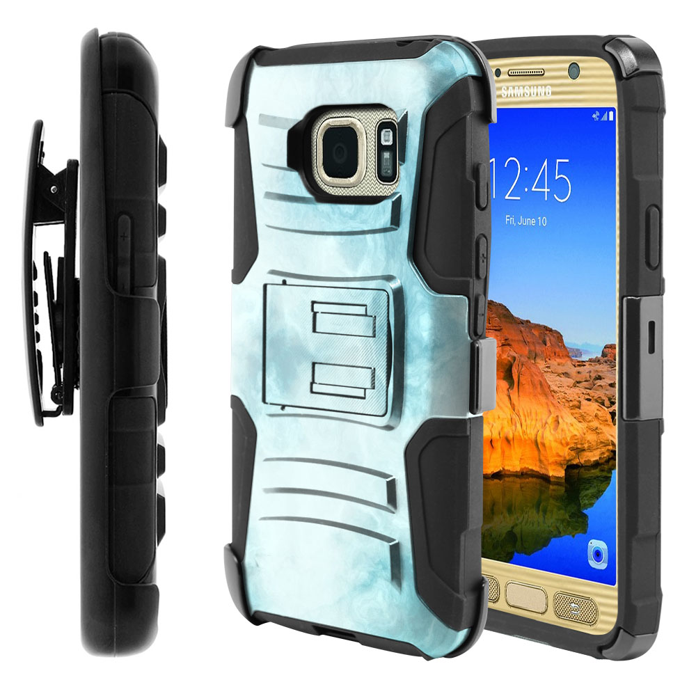 Samsung Galaxy S7 Active G891 Hybrid Rigid Stand Holster Blue Cloudy Marble Protector Cover Case
