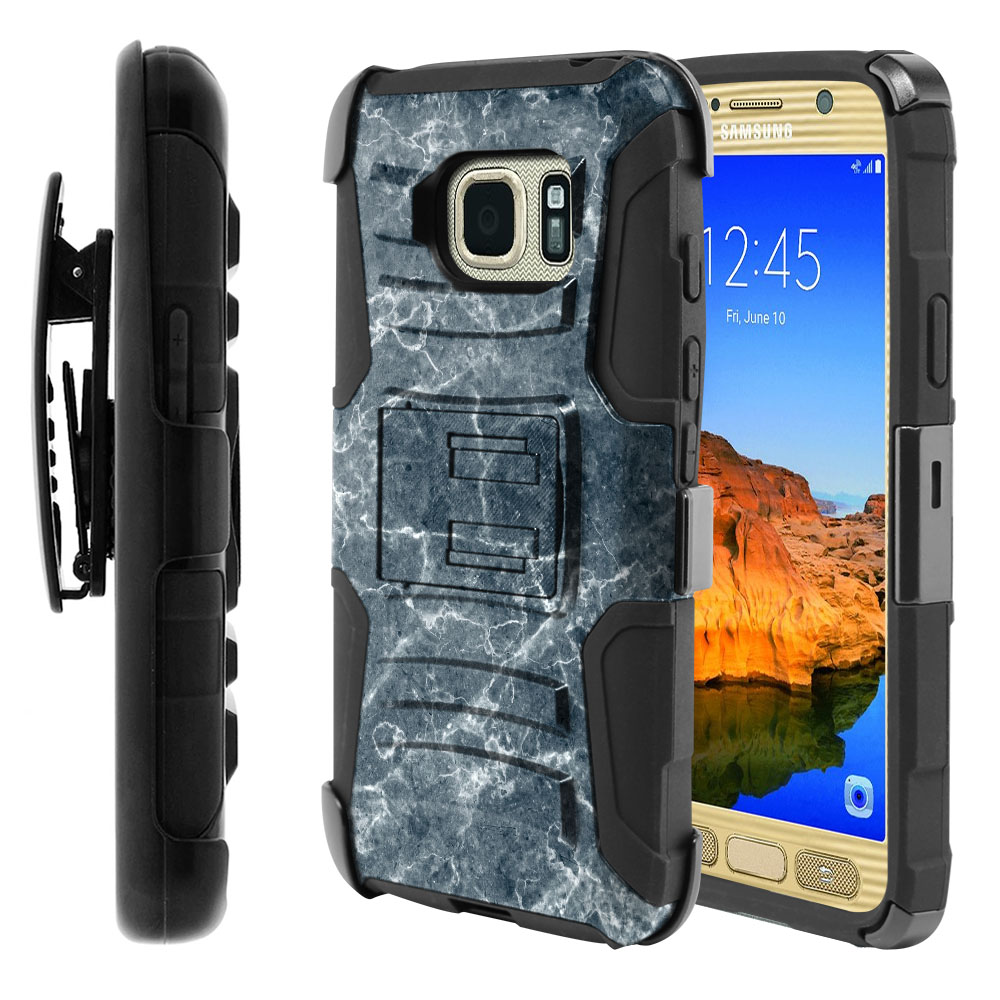 Samsung Galaxy S7 Active G891 Hybrid Rigid Stand Holster Blue Stone Marble Protector Cover Case