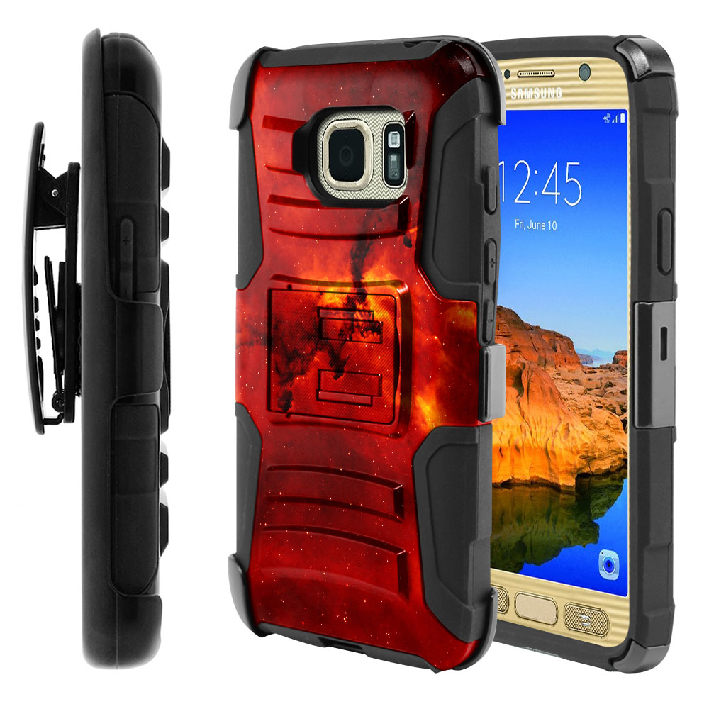 Samsung Galaxy S7 Active G891 Hybrid Rigid Stand Holster Fiery Galaxy Protector Cover Case